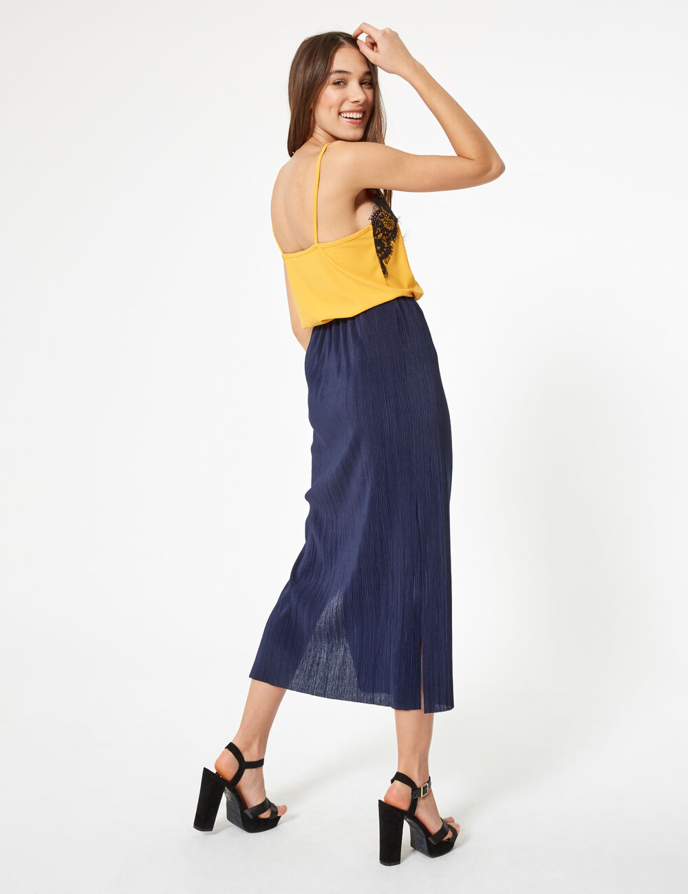 marino azul Jennyfer Mujer Falda larga plisada Ufk1t3ljc 8mNyvn0wO
