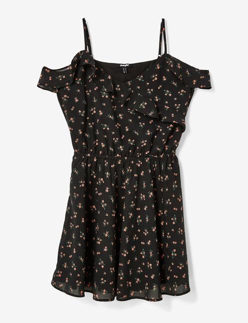 robe fleurie avec volants noir
