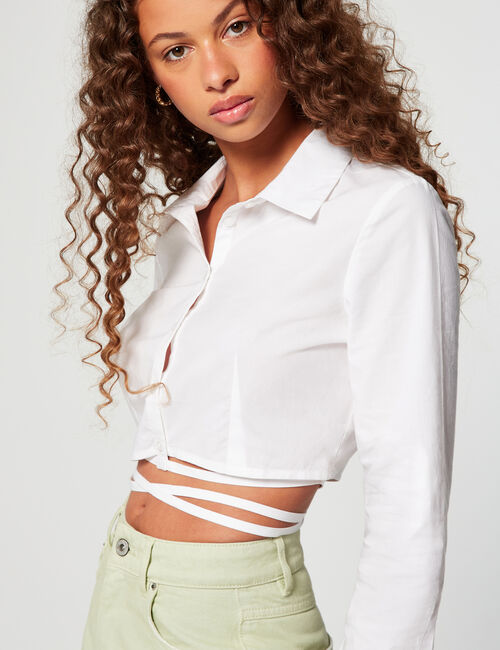 Cropped shirt with ties