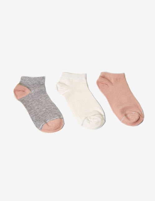 White, grey and pink socks