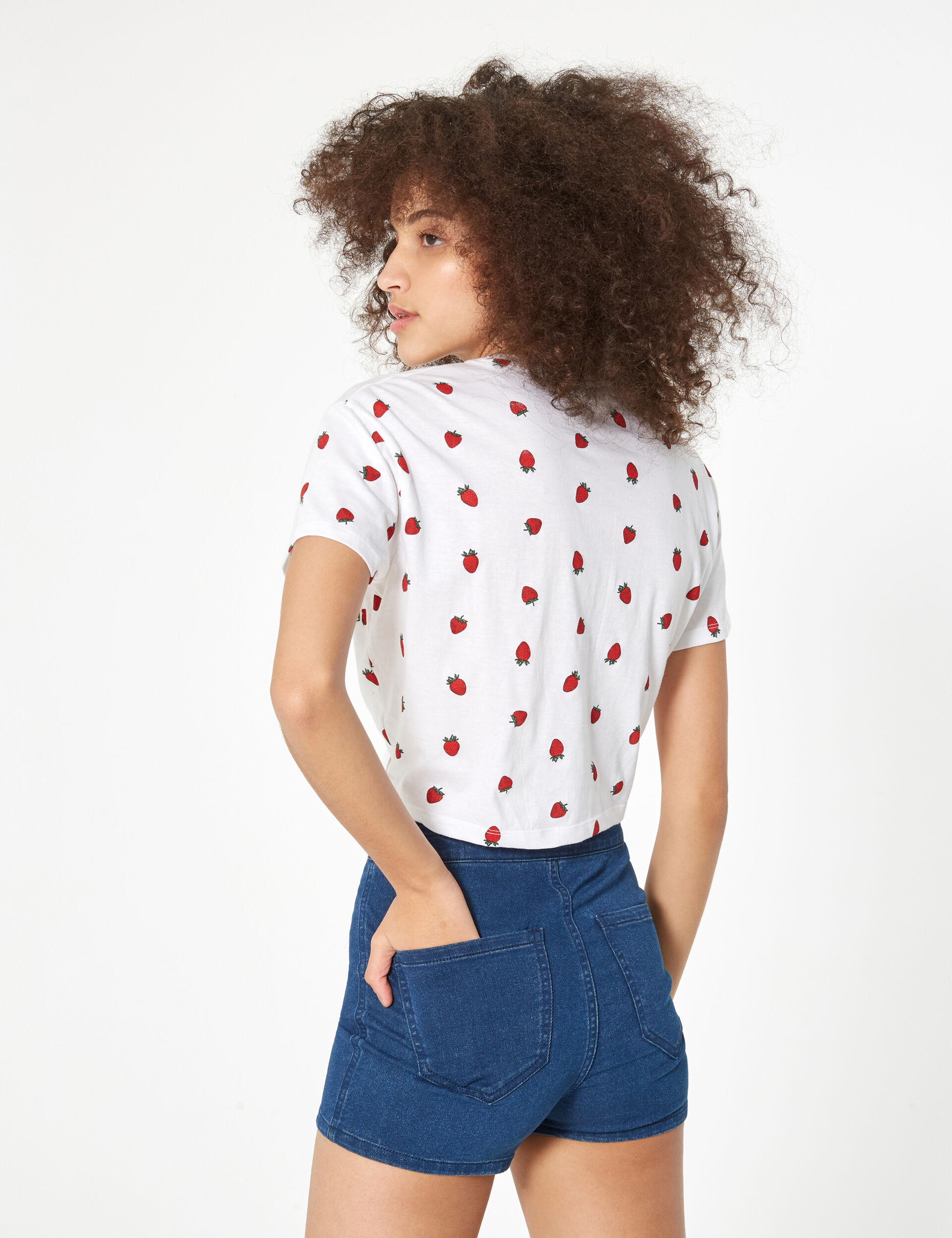 White and red strawberry tie-front t-shirt