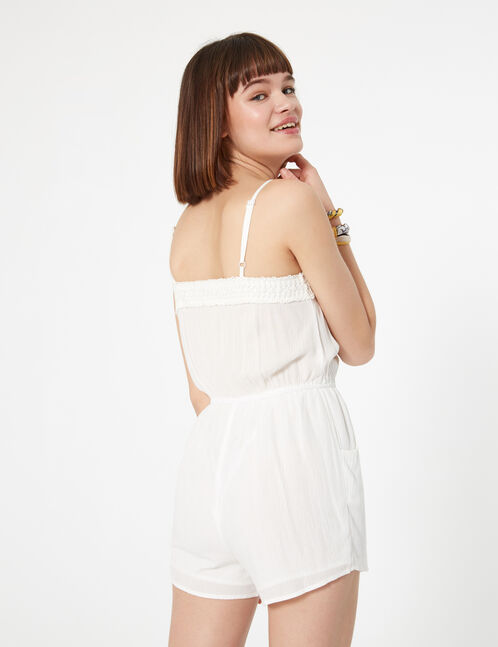 Cream playsuit with macramé detail
