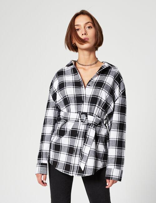 Mid-length checked shirt