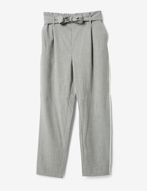 Grey marl trousers with tie belt detail