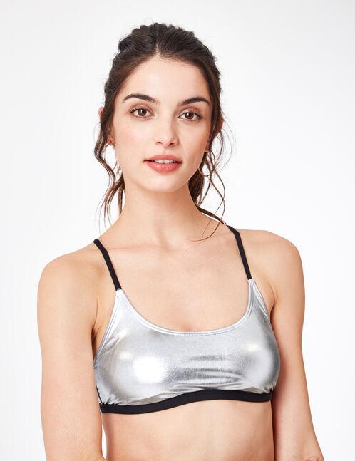 Shiny silver bikini top