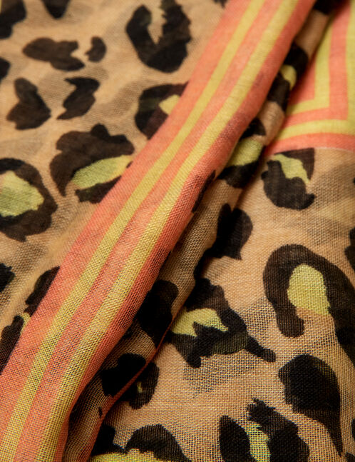 Yellow, orange, beige and black leopard print scarf