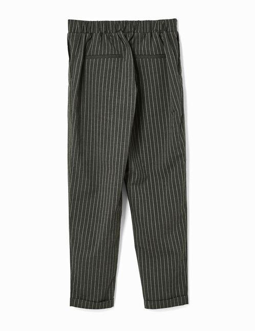 pantalon ville fines rayures gris