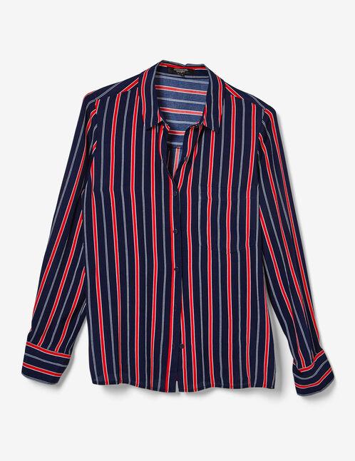 chemise rayée bleu marine, rouge et blanche
