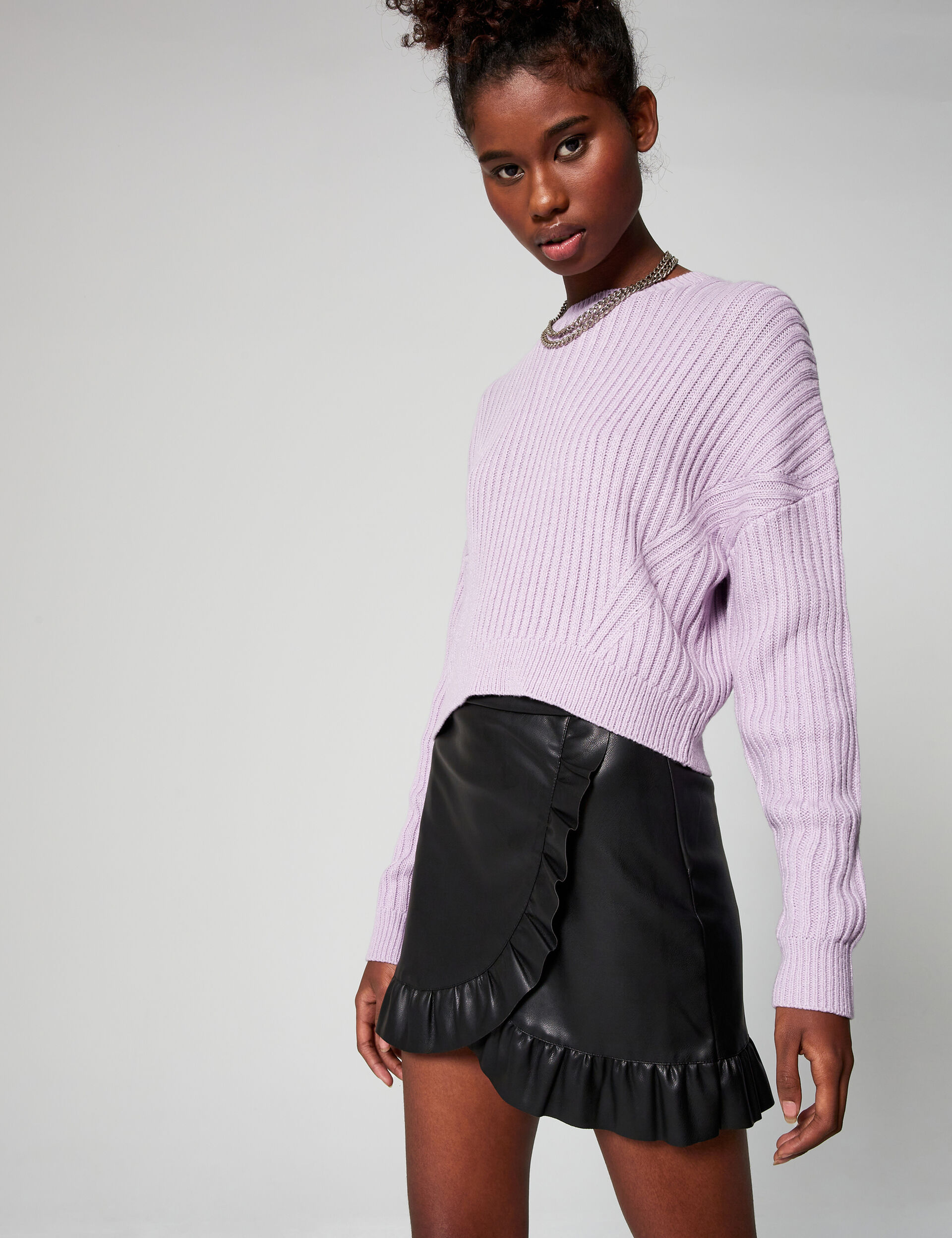 Imitation-leather skirt with flounced hem