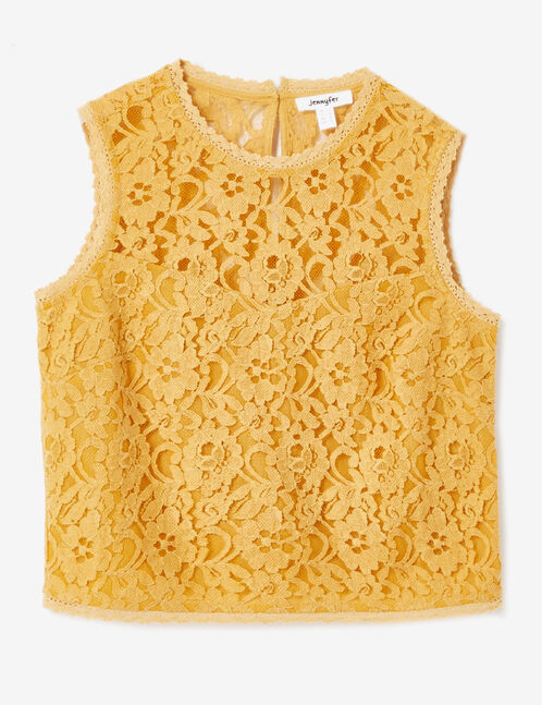 blouse en dentelle ocre