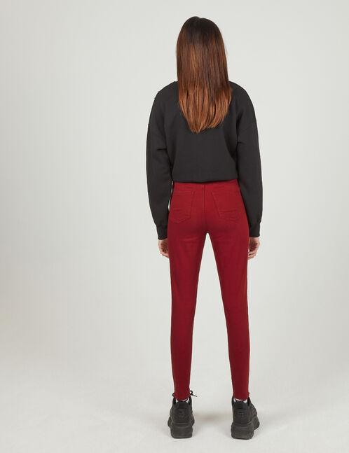 Burgundy high-waisted skinny trousers