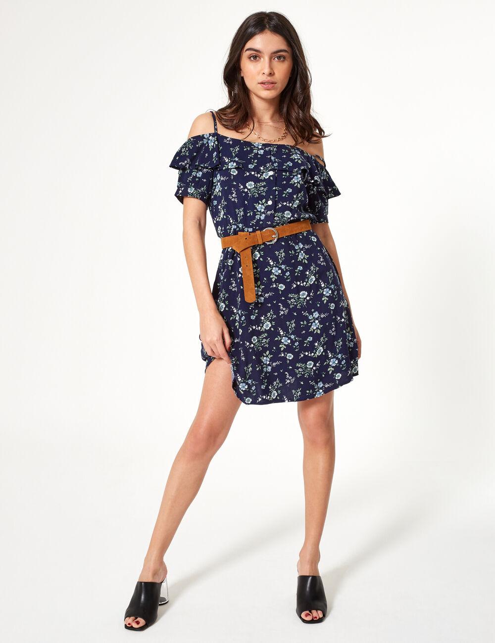 72b995b5a09e Blue floral off-the-shoulder dress woman • Jennyfer