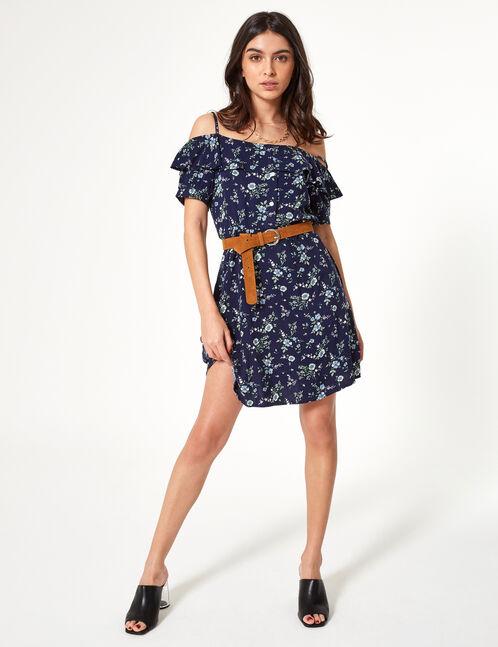 robe épaules dénudées fleuri
