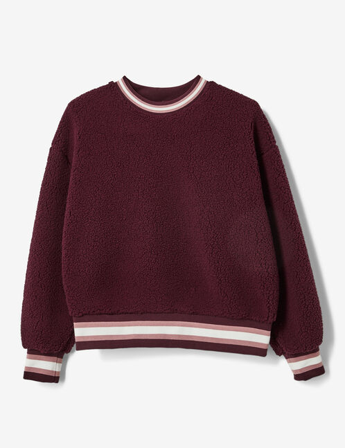 Burgundy faux fur sweatshirt