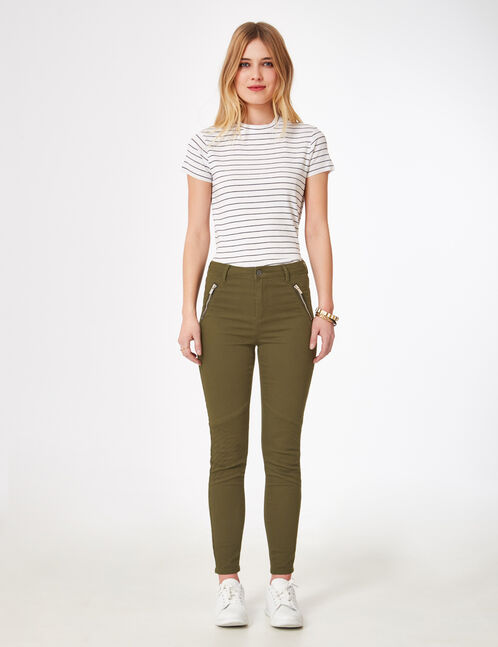 Khaki biker-style trousers