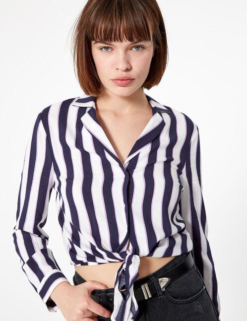 chemise rayée à nouer bleu marine, violette et blanche