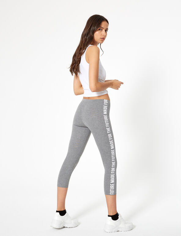Charcoal grey leggings with text design side detail