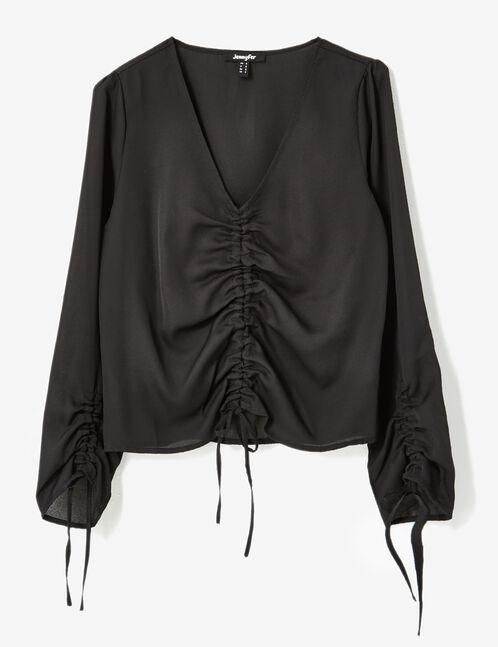 Black ruched blouse