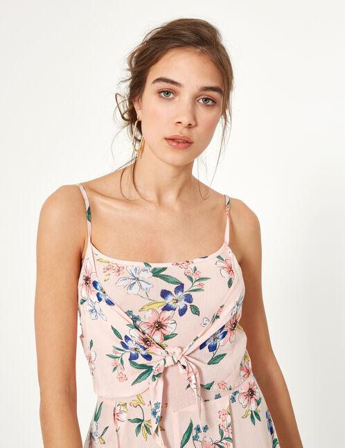 Pale pink floral jumpsuit