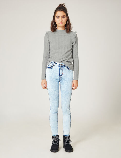 Bleached unpicked stitch-effect jeans