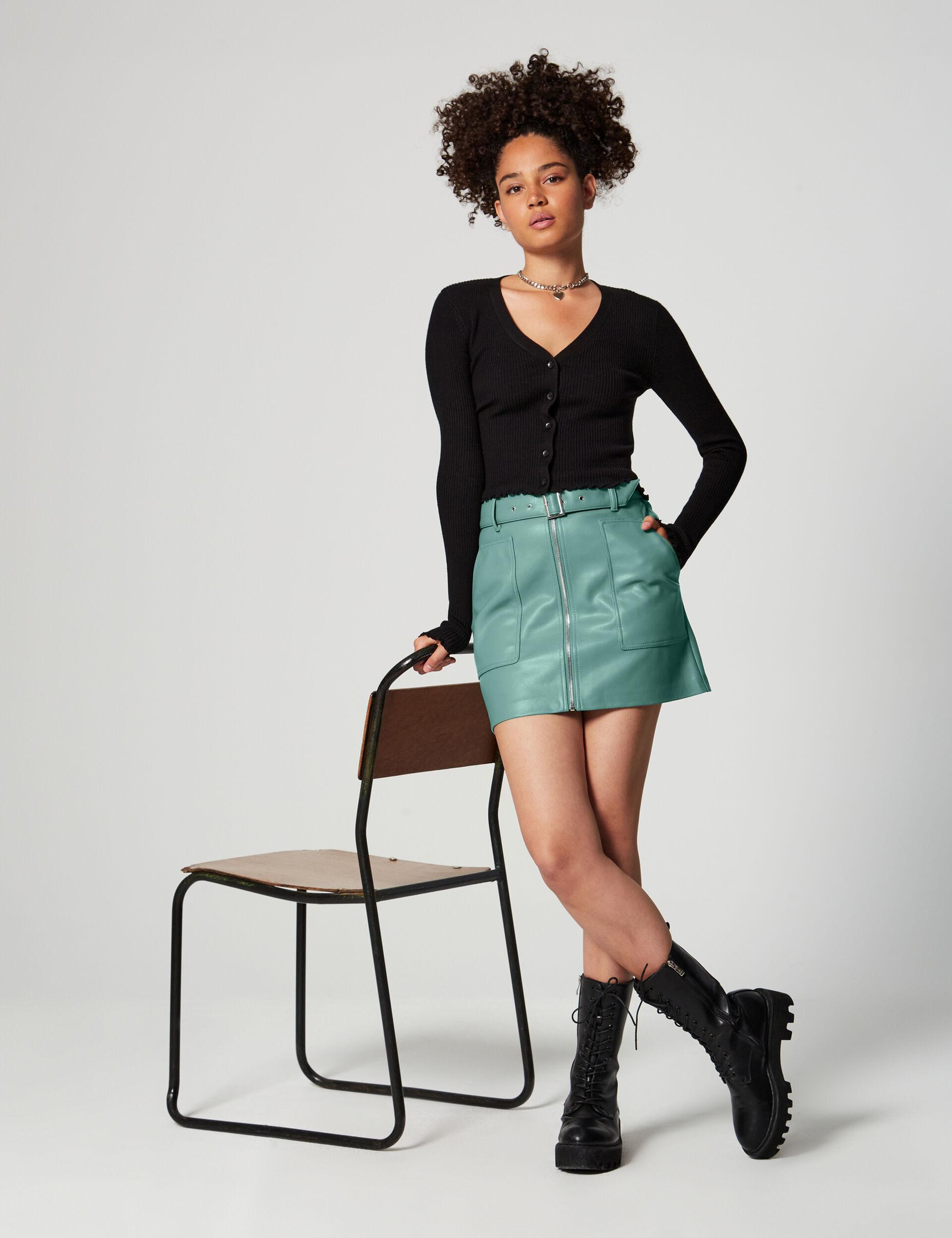 Zipped short skirt