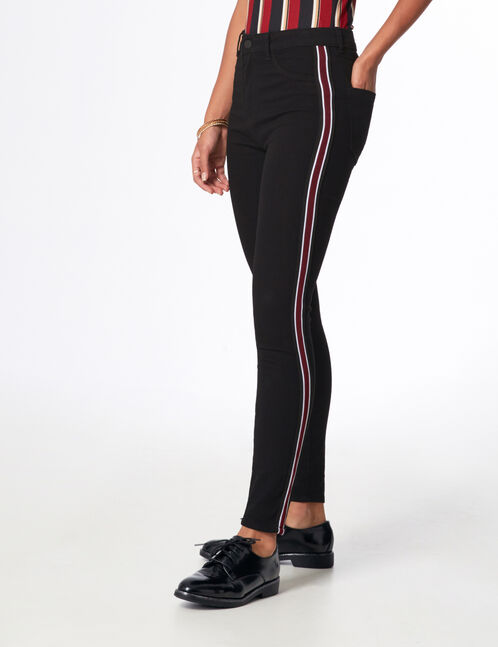 Black jeggings with trim detail