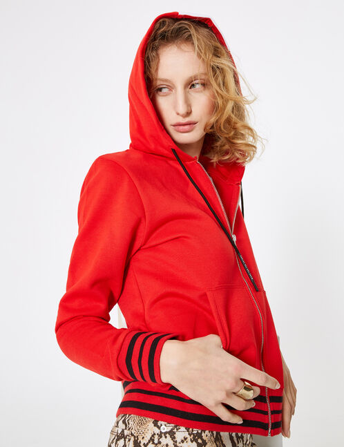 Red zip-up hoodie