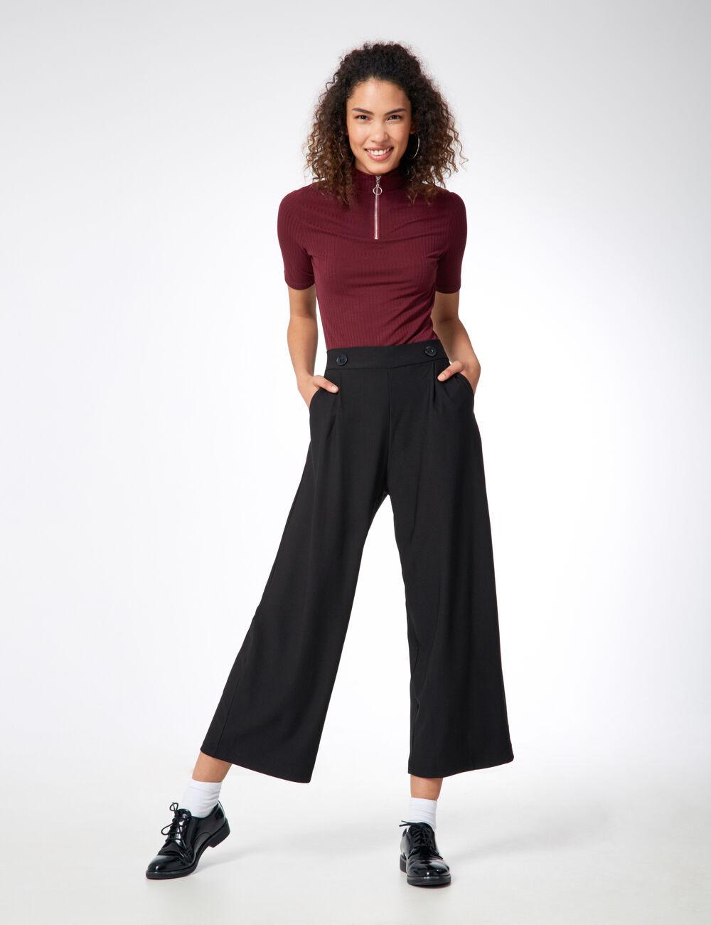 pantalon fluide large noir femme jennyfer. Black Bedroom Furniture Sets. Home Design Ideas