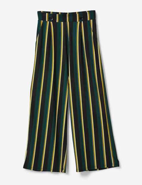 pantalon fluide large rayé vert, ocre, blanc et noir