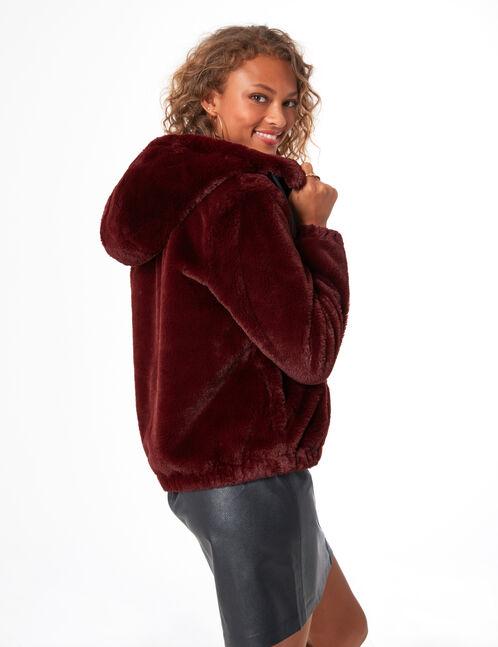 manteau fausse fourrure bordeaux