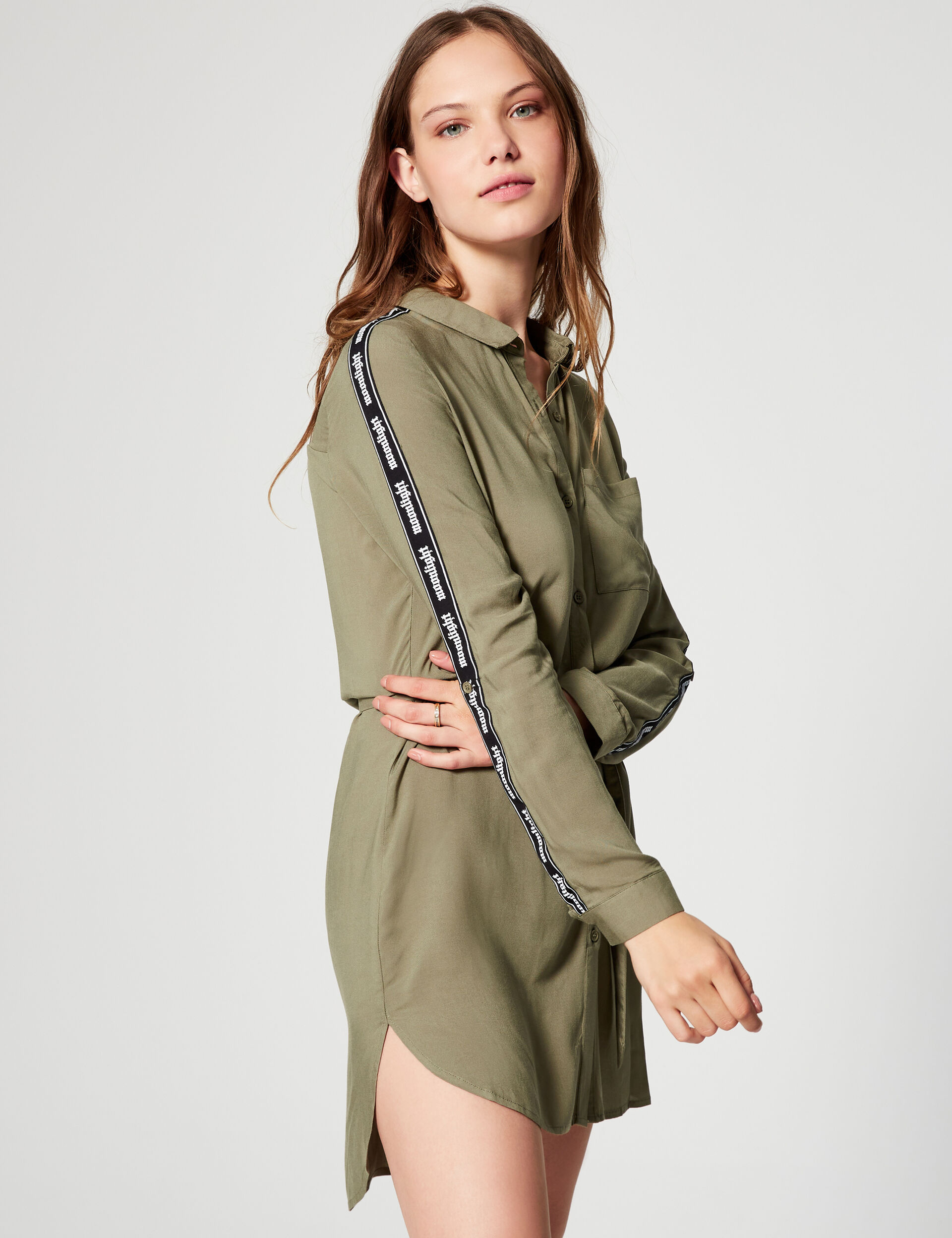 Shirt dress with stripe detail