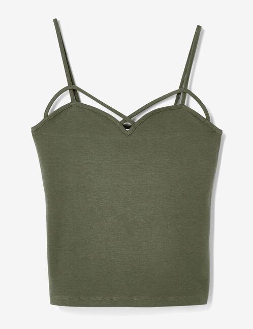 Khaki tank top with strap detail