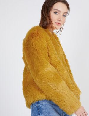 manteau imitation fourrure jaune