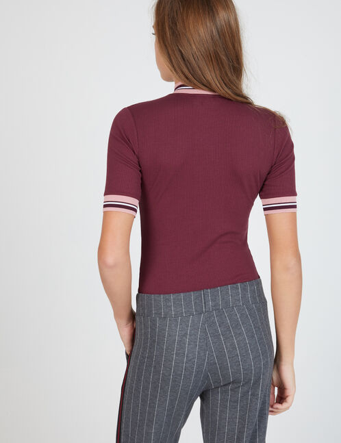 Plum bodysuit with zip detail