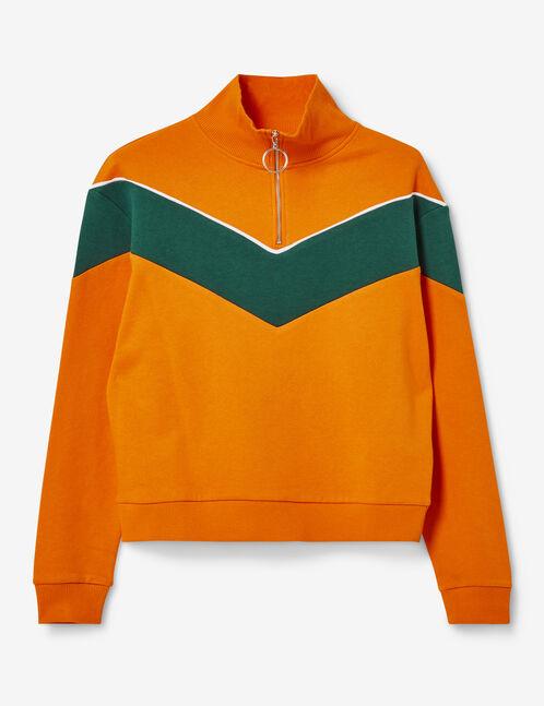 Orange and green zipped sweatshirt with chevron detail