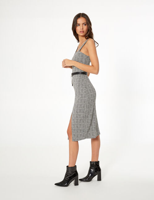 Black and white checked fitted dress