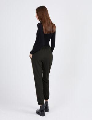 pantalon avec bandes côtés noir, marron et écru