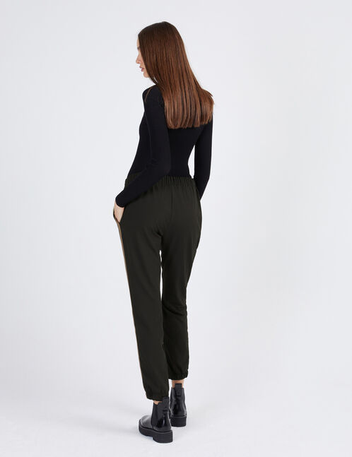 Black, brown and cream trousers with side trim detail