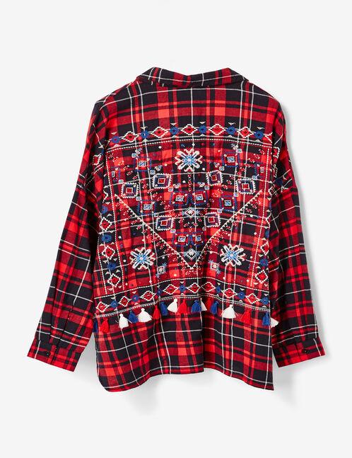 chemise avec broderies rouge et noire