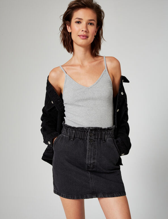 High-waisted denim skirt