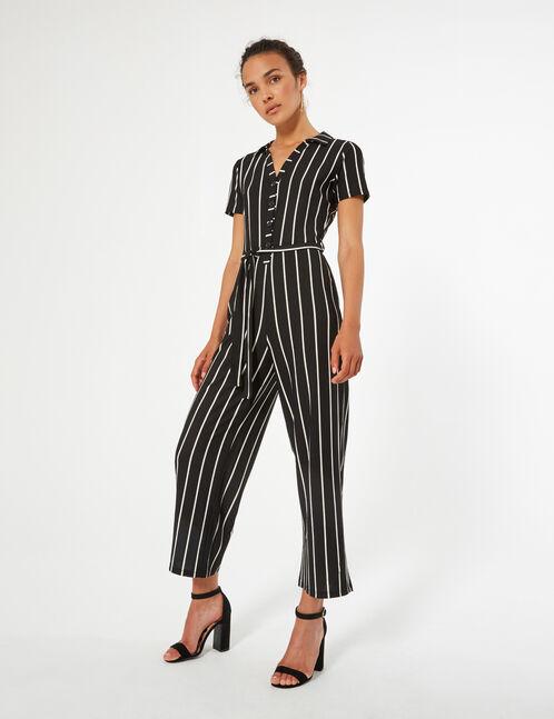striped flowing jumpsuit
