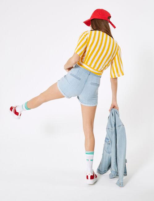 short en jean avec ceinture bleu clair
