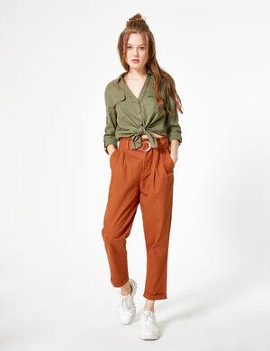 pantalon paperbag rouille