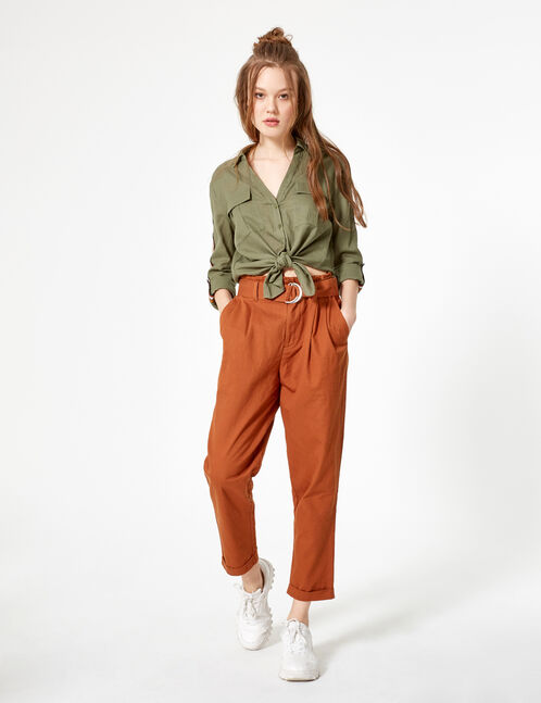 Rust-coloured paperbag trousers