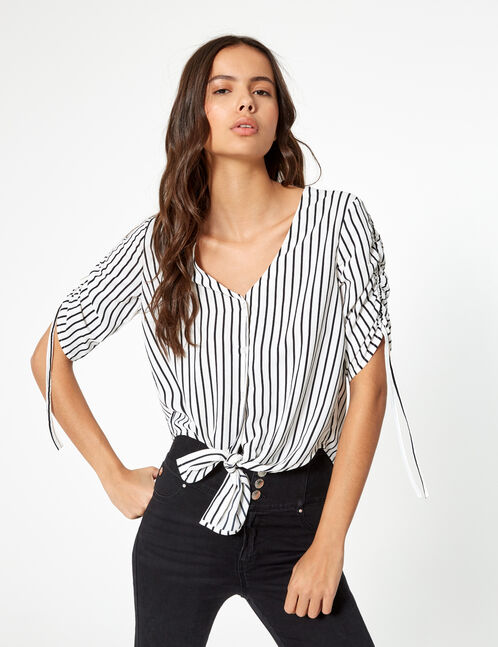 Cream and black striped blouse with gathered sleeve detail