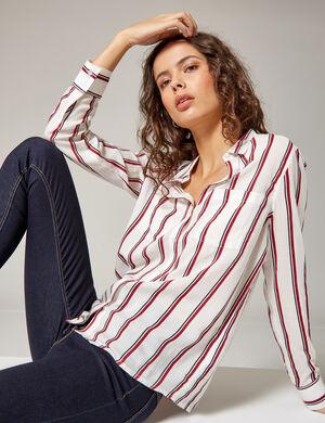 chemise à rayures blanche, bordeaux et noire
