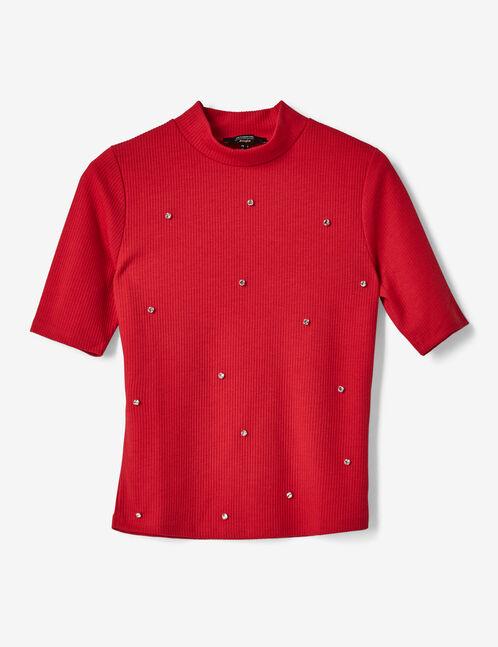tee-shirt avec strass rouge