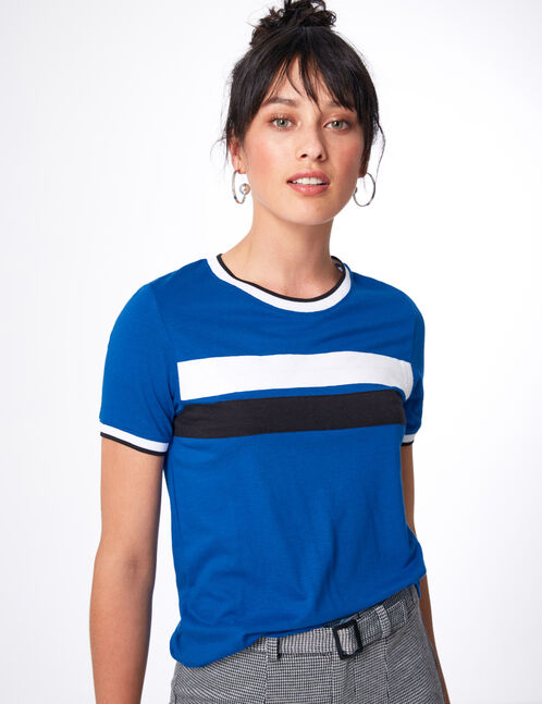 Blue top with stripe detail