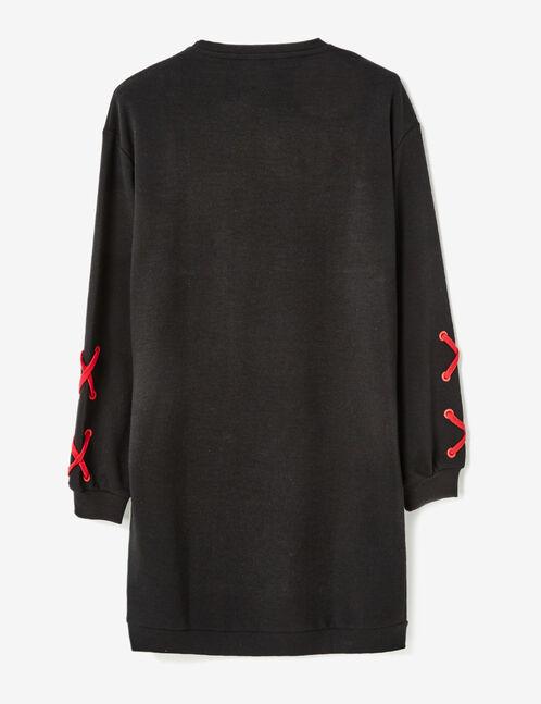 Black sweatshirt dress with text design detail
