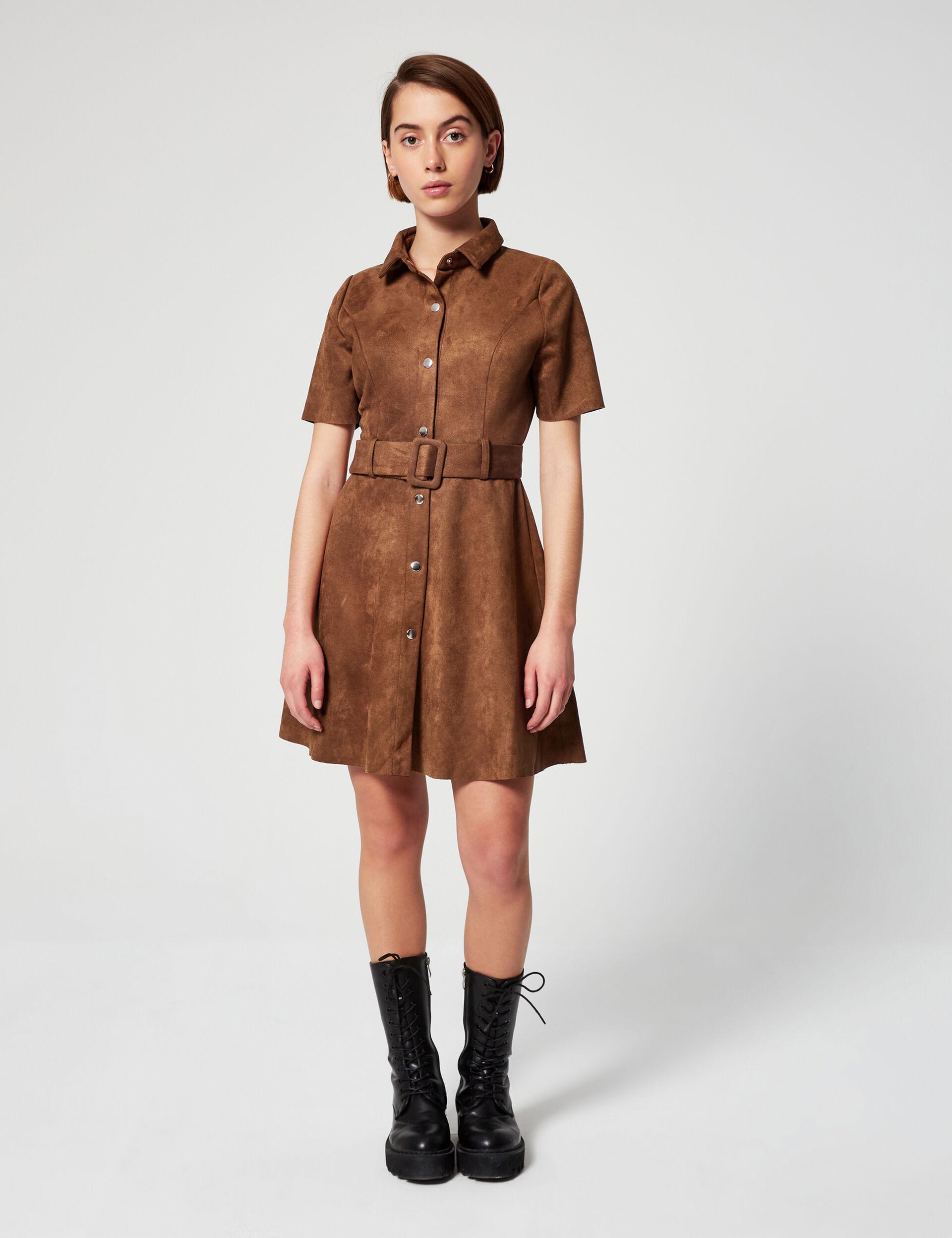 Imitiation suede shirt dress